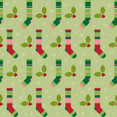 Winter holidays pattern background with colorful baby socks for gifts from Santa Claus and  branch of Holly on soft green colored cover — Stok Vektör