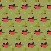 Winter festive pattern with bullfinches and branch of Holly on the green cover — Stock Vector