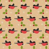 Endless repeating winter festive pattern with bullfinches and branch of Holly — Stock Vector