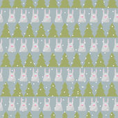 Winter holidays pattern background with green fir and funny cartoon rabbit on the grey cover — Stock Vector