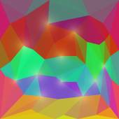 Abstract deep red, purple and green colored polygonal triangular background with glaring lights for use in design — Stock Vector