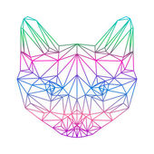 Polygonal abstract vector gradient colored siamese cat silhouett — Vector de stock