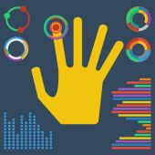 Illustration with brightly colored hand clicking on a virtual bu — Vector de stock