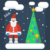 Funny cartoon winter holidays background with Santa and spruce m — Cтоковый вектор