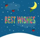 Funny winter holidays bright colored card background with best w — Stock Vector