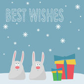 Funny winter holidays card background with cute cartoon rabbits, — Stock Vector