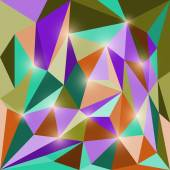 Abstract bright colored polygonal triangular geometric background with glaring lights — Stock Vector