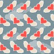 Flying in the sky with clouds brighy hearts with wings seamless pattern abstract background for use in design for valentines day or wedding — Stock Vector #61973923