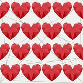Seamless background with bright colored red geometric abstract polygonal hearts for use in design for valentines day or wedding — Cтоковый вектор