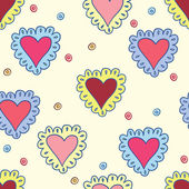 Hand-drawing hearts seamless pattern abstract background on soft yellow cover for use in design for valentines day or wedding — Cтоковый вектор