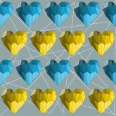 Illustration with blue and yellow colored geometric abstract polygonal hearts for use in design for valentines day or wedding. Seamless pattern background. — Cтоковый вектор
