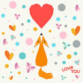 Illustration with funny cartoon geometric fox, flowers and hearts for use in design for valentines day or wedding greeting card — Stock Vector