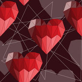 Bright red geometric abstract polygonal hearts seamless pattern background for use in design for valentines day or wedding — Stockvector