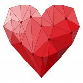 Illustration with geometric abstract polygonal heart isolated on white cover for use in design for valentines day or wedding greeting card — Stock Vector