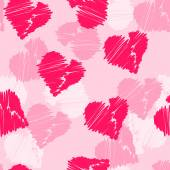 Seamless pattern background with hand-drawing hearts for use in design for valentines day or wedding — Stock Vector