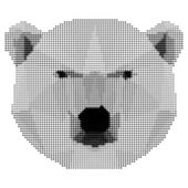 Abstract monochrome polar bear isolated on white background — Stock Vector