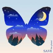 Conceptual illustration on the theme of protection of nature and animals with night forest with sunset sky and moon in silhouette of butterfly for use in design for card, invitation, poster or placard — Stock Vector