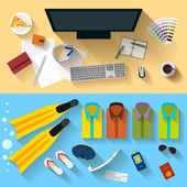 Bright color illustration in trendy flat style with long shadows with sets of objects that modern people use in everyday life and during rest for use in design card, poster, banner, placard, billboard — Vetor de Stock