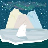 Simple graphic illustration in trendy flat style with white polar bear and ice on the starry sky background for use in design for card, invitation, poster, banner or placard on the theme of nature — Stock Vector