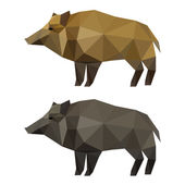 Abstract polygonal geometric triangle wild boar set isolated on white background for use in design for card, invitation, poster, banner, placard or billboard background — Wektor stockowy