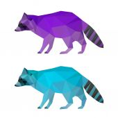 Abstract polygonal geometric triangle bright purple and blue colored raccoon set isolated on white background for use in design for card, invitation, poster, banner, placard or billboard cover — Stok Vektör