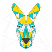 Abstract blue, yellow and grey blended colored polygonal triangle geometric kangaroo isolated on white background for use in design for card, invitation, poster, banner, placard or billboard cover — Stock Vector