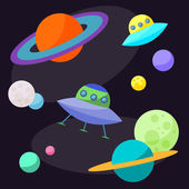 Bright cartoon cosmic illustration with ufo and funny planets in open space for use in design for card, poster, banner, placard,  brochures or billboard cover — Stock Vector