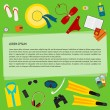 Bright illustration with objects used modern people on vacation isolated on green background for use in design for card, poster, banner, placard, billboard. Trendy flat style — Stock Vector #75965925