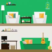 çizimde oda iç kapağında şık parlak yeşil ve yumuşak bej kartı, davet, poster, afiş, için tasarım için kullanmak için izole trendy düz stil tasarlamak veya arka plan billboard — Stok Vektör