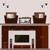 Ilustración en moda estilo plano con el interior de la habitación marrón brillante aislado en cubierta beige suave para el uso en el diseño para la tarjeta, invitación, afiche, banner, cartel o fondo de la cartelera — Vector de stock
