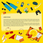 Conceptual illustration with objects used modern people on vacation isolated on bright yellow background for use in design for card, poster, banner, placard, billboard. Trendy flat style — Stock Vector