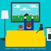 Father's Day greeting card. Dad and son playing in soccer — Stock Vector