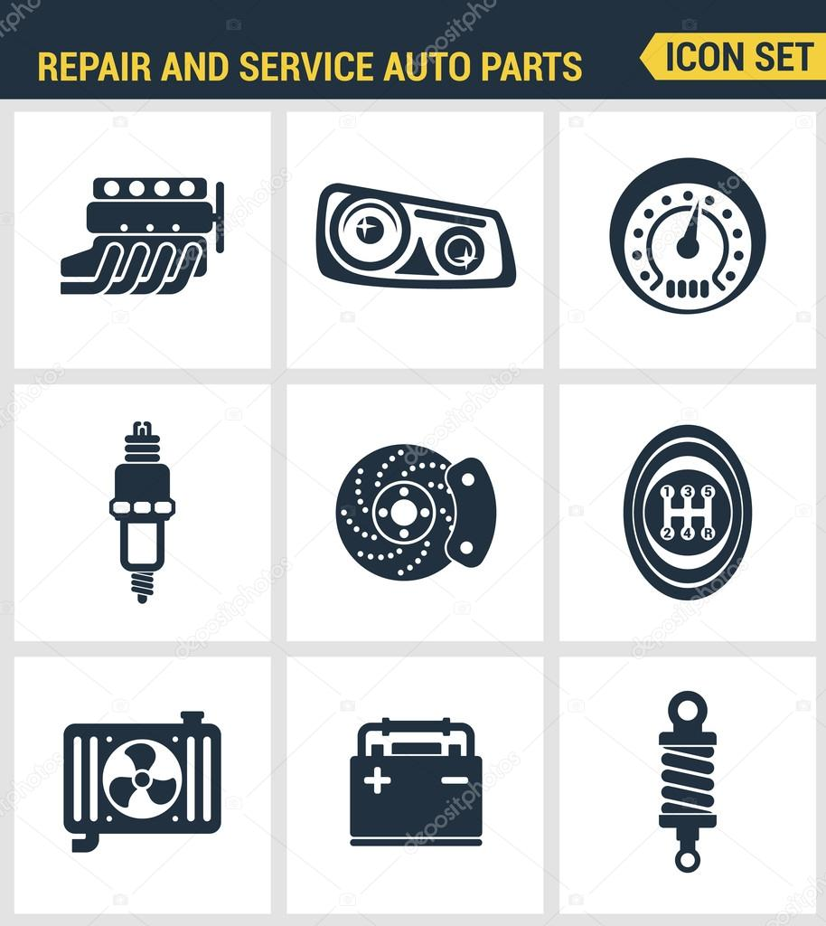 Icons set premium quality of repair and service auto parts for Auto p garage roussillon