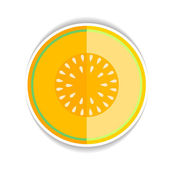 Vector icon Ripe yellow melon and a piece just on a white backgr — Stock Vector