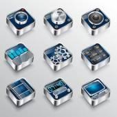Set of universal media icons 3d Cinema symbols — Stock Vector
