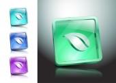 Illustration vector Leaf icon glassy green — Stock Vector