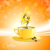 Coffe good morning with yellow cup — Stock Vector
