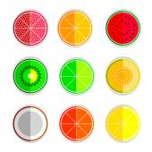 Orange mandarin lemon watermelon cantaloupe kiwi lime coconut grapefruit set icons — Stock Vector