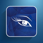 Vector blue eye with long lashes  woman makeup beauty symbol — Stock Vector