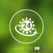 Uhr im gelbe Sonne Vektor Abbildung Sonne Vektor-Tag-illustration — Stockvektor