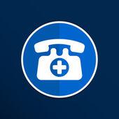 Emergencia Identificativo icono vector teléfono número botón. — Vector de stock