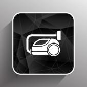 Vector black cleaner icon vacuum symbol electric — Stock Vector