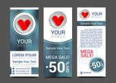 Love set of banners creative heart shape — Stock Vector