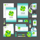 White corporate identity template design green  turquoise — Stock Vector