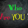 Who are you handwritten with white chalk on a blackboard — Stock Photo #56274681
