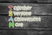 Team meaning written on blackboard background, high — Stock Photo