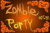 Halloween Zombie Party text on Background — Foto de Stock
