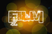 Film word on vintage bokeh background, concept sign — Foto Stock