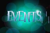 Events word on vintage bokeh background, concept sign — Foto Stock