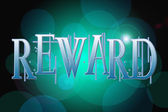 Reward word on vintage bokeh background, concept sign — Stock Photo